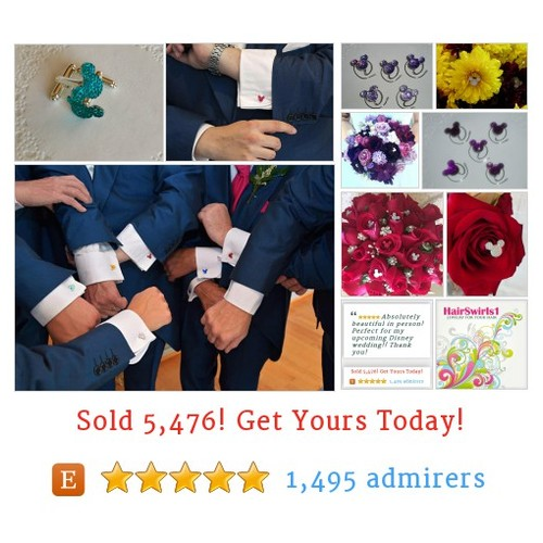 JEWELRY FOR YOUR HAIR by HairSwirls1 Etsy shop  Cuff links for the groomsmen too.  Hair Spins for the bridesmaids. Hidden Mickey flower pins for the bouquets, boutonnieres, corsages, and centerpieces.  Get yours today at HairSwirls1.com or HairSwirls.com #etsy #PromoteEtsy #PictureVideo @SharePicVideo
