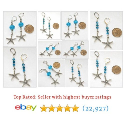 STARFISH SEA STAR Silver Plated Blue Crystal BACK Charm Earrings   @busybeebumble   #ebay  #etsy #PromoteEbay #PictureVideo @SharePicVideo