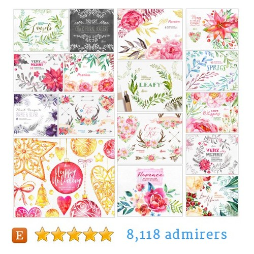 Floral Clipart #etsy shop #floralclipart @octopusartis  #etsy #PromoteEtsy #PictureVideo @SharePicVideo