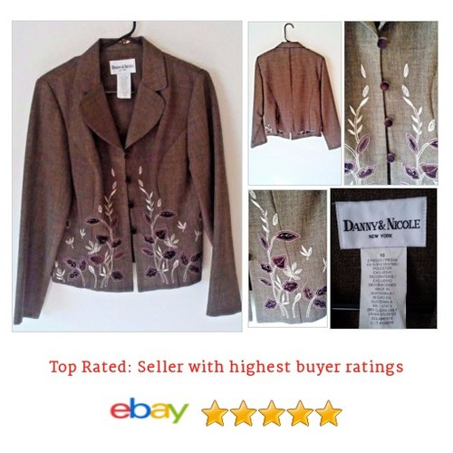 #Danny & Nicole Women's Blazer Size 10 M #Embroidered Floral #Velvet Buttons #Spring | eBay #Suit #Blazer #etsy #PromoteEbay #PictureVideo @SharePicVideo