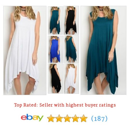 Casual Fashion Chic Soft Jersey Tank Dress Hi/Low Hem Shift Dress Sz #ebay @zaiyleeblake  #etsy #PromoteEbay #PictureVideo @SharePicVideo