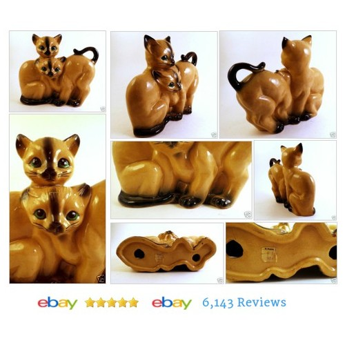 Vtg 2 Big Siamese Cats Kittens Figurine Statue Old Woolworth's Price Tag on It  #Cats #etsy #PromoteEbay #PictureVideo @SharePicVideo
