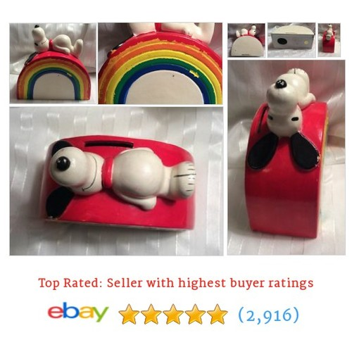 "Snoopy Peanuts Vintage bank ""Rainbow"" Paper mache @ebaystevenbug #sellonebay #ebay  #etsy #PromoteEbay #PictureVideo @SharePicVideo"