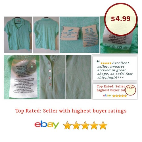 #CaribbeanJoe #Jacquard Women's #PoloShirt  #Top #Blouse #PoloShirt #golf #tennis #fashionista #fashion #auction #etsy #PromoteEbay #PictureVideo @SharePicVideo