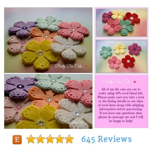 Felt Large Layered Flowers with centre gem, #etsy @prettydiecuts  #etsy #PromoteEtsy #PictureVideo @SharePicVideo