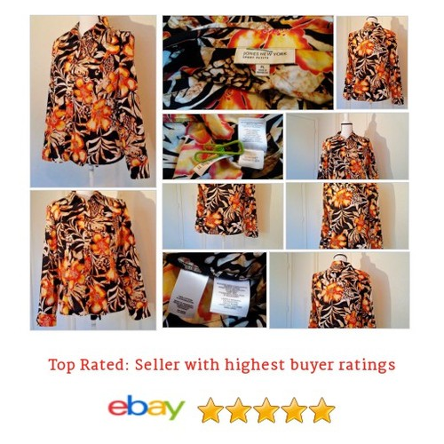 #Jones #NewYork #Blouse Size PL #Petite Large #Hibiscus Print Multi-color Button Fun | @eBay #Top #JonesNewYork #etsy #PromoteEbay #PictureVideo @SharePicVideo