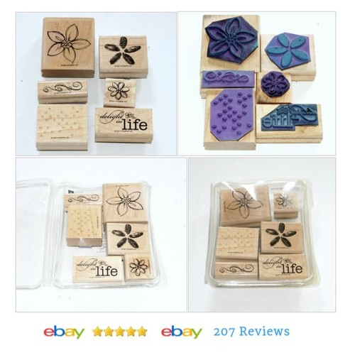 Stampin Up Rubber Stamp Delight in Life Flowers Dots Swirly Border Spring #Stamp #Stamping #etsy #PromoteEbay #PictureVideo @SharePicVideo