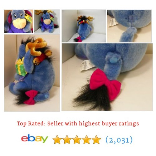 Disney Eeyore Plush Toy Christmas Bells Antlers Stuff Pooh Rain Deer #ebay @pnormans737  #etsy #PromoteEbay #PictureVideo @SharePicVideo