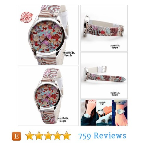 Womens Watch - Cupcakes. Women Watches. #etsy @hmpwatches  #etsy #PromoteEtsy #PictureVideo @SharePicVideo