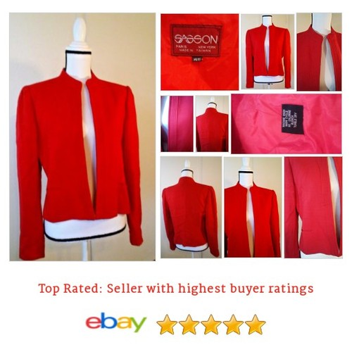 #Sasson @Blazer @Red Size @Large Lined Machine @Washable #Suit #Blazer #etsy #PromoteEbay #PictureVideo @SharePicVideo
