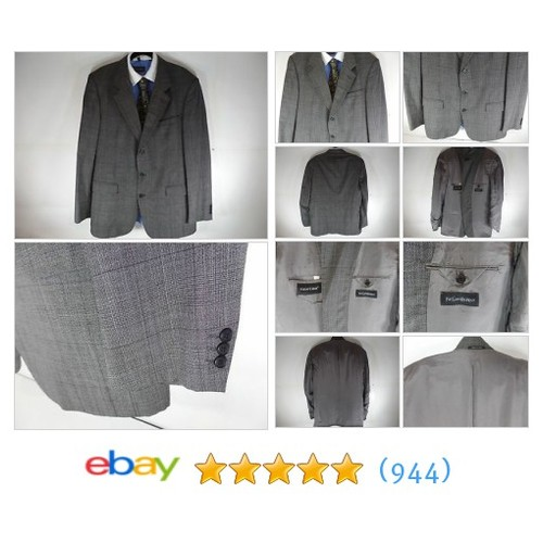 46L Yves Saint Laurent Mens Plaid Check Sport Coat Blazer Suit Jacket #ebay @premiumfits  #etsy #PromoteEbay #PictureVideo @SharePicVideo