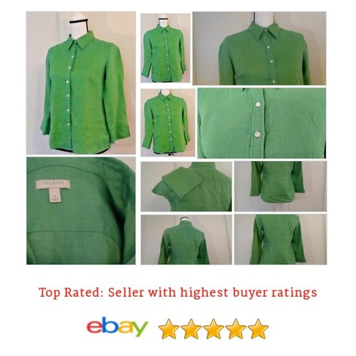 #Talbots Women's #Blouse Size 4 Button #Green #Linen #Spring #Fun #Summer Picnic Date | @eBay #Top #Talbot #etsy #PromoteEbay #PictureVideo @SharePicVideo