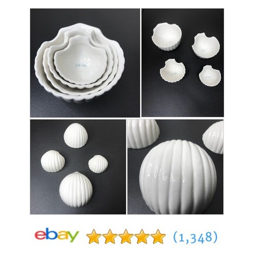 Stoneware Nesting White Clam Shell Measuring Cups Or Condiment Bowls Set Of 4  | eBay #etsy #PromoteEbay #PictureVideo @SharePicVideo