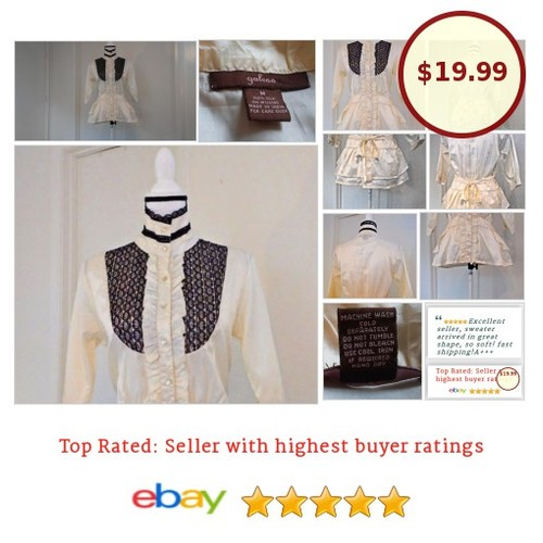 #fashionista #fashion #auction #Blouse Size M Medium Ivory 100% #Silk #BlackLace #Ruffles #Steampunk #Top #Galeno #etsy #PromoteEbay #PictureVideo @SharePicVideo