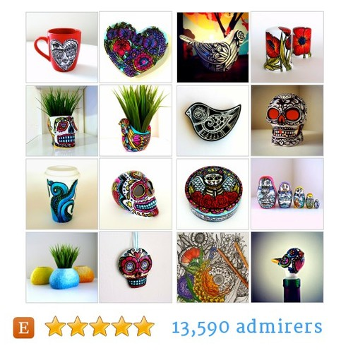 Hand Painted Ceramics, Modern Folk Art by @sewzinski  #etsy shop  #etsy #PromoteEtsy #PictureVideo @SharePicVideo