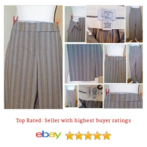 Ann Taylor LOFT Pants Striped Gray Size 6 Inseam 26 | eBay #Pant #DressPant #AnnTaylorLOFT #etsy #PromoteEbay #PictureVideo @SharePicVideo