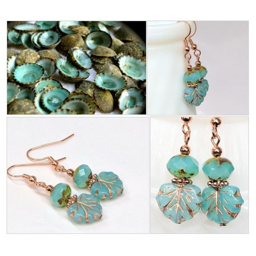 Turquoise and Copper Glass Bead Earrings, Maple Leaf Earrings, Czech Glass Bead Drop Earrings, Boho Chic Earrings, Nature Woodland Jewelry  #etsyspecialt #integritytt #SpecialTGIF #Specialtoo  #SpecialTParty      @RTFAMDNR    @FatalRTs   @SGH_RTs #etsy #PromoteEtsy #PictureVideo @SharePicVideo