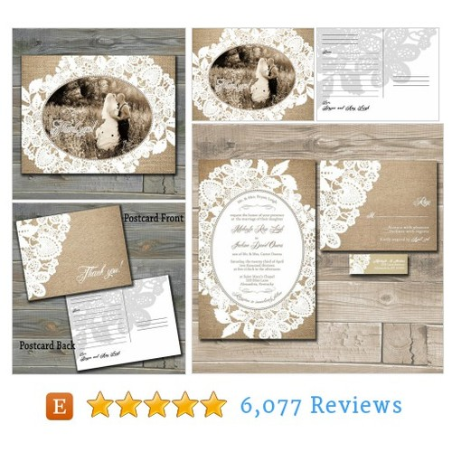Burlap Thank you Cards, Burlap and Lace #etsy @invitingmoment  #etsy #PromoteEtsy #PictureVideo @SharePicVideo