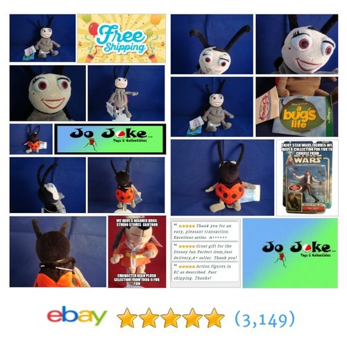 "DISNEY-A BUG'S LIFE-FRANCIS-8""-BEAN PLUSH-FEELERS BIG EYES-DISNEY STORE-NEW/TAGS 