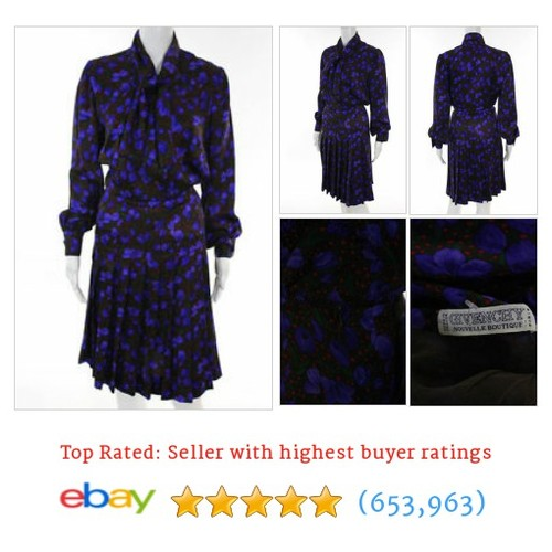 Givenchy Vintage Multi-Color Silk Long Sleeve Floral Dress #ebay @lindasstuff #sellonebay  #etsy #PromoteEbay #PictureVideo @SharePicVideo