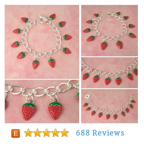 Strawberry Tiki Charm Bracelet - Vintage #etsy @candy_justine  #etsy #PromoteEtsy #PictureVideo @SharePicVideo