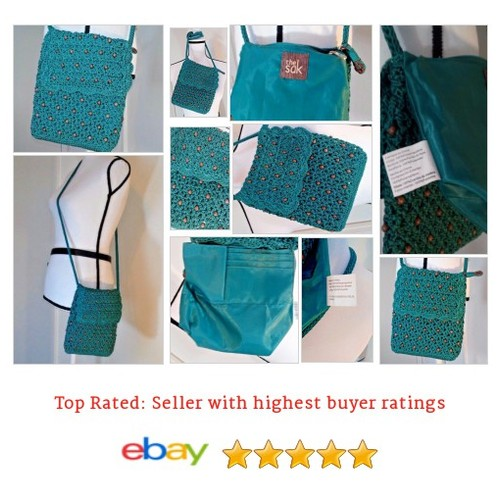 "The Sak #BoHo #Crochet Flap Cross Body Wood Beads Blue #Hippy #Peasant ""Gorgeous"" 