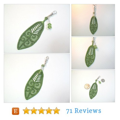 #Keychain charm green feather, lampwork & crystals #Lanyard #Accessory #etsy #PromoteEtsy #PictureVideo @SharePicVideo
