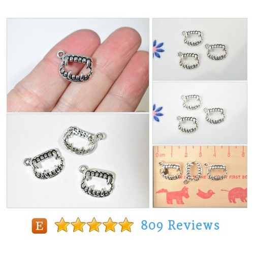 10 vampire teeth charms | silver charms | #etsy @enchantcharmetc  #etsy #PromoteEtsy #PictureVideo @SharePicVideo