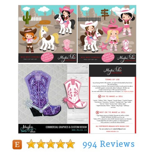 Wild West Cute Cowgirl Clipart- Pink & #etsy @mujka  #etsy #PromoteEtsy #PictureVideo @SharePicVideo