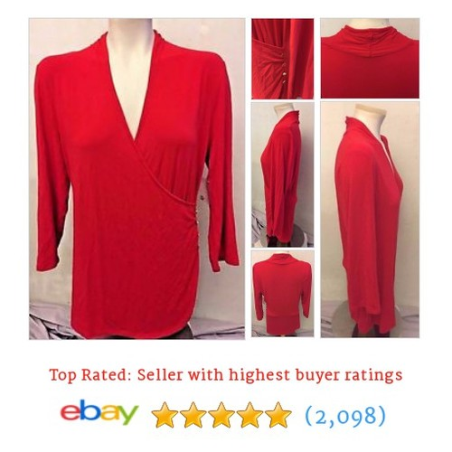 MADISON Women's Red Crossover 3/4 Sleeve Knit Top Size Large | #ebay @jilbijou45  #etsy #PromoteEbay #PictureVideo @SharePicVideo