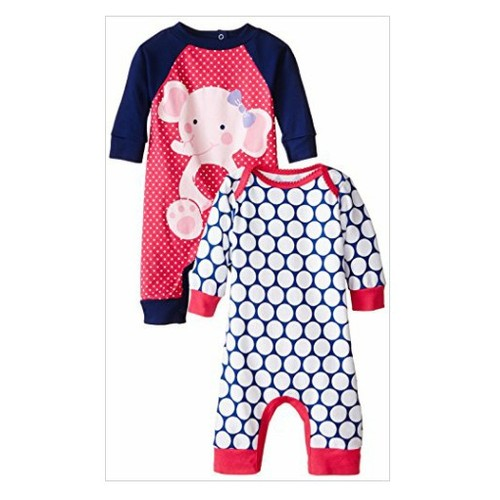 Gerber Baby-Girls Newborn Elephant 2 Pack Coverall, Elephant, 6-9 Months #socialselling #PromoteStore #PictureVideo @SharePicVideo