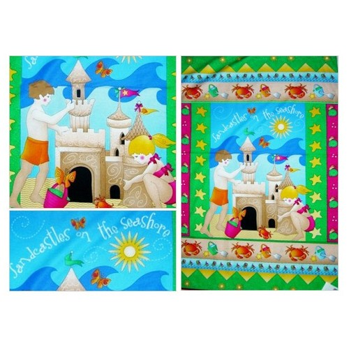 Kids fabric panel quilt top beach Sandcastle at the seashore cotton print wall hanging Summer fabric print quilter #etsyspecialt #integritytt #SpecialTGIF #Specialtoo  #SpecialTParty      @RTFAMDNR    @FatalRTs   @SGH_RTs #etsy #PromoteEtsy #PictureVideo @SharePicVideo