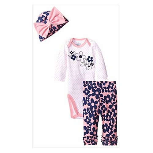 Gerber Baby-Girls Newborn 3 Piece Bodysuit Cap and Legging Set, Flowers, 3-6 Months -  #socialselling #PromoteStore #PictureVideo @SharePicVideo