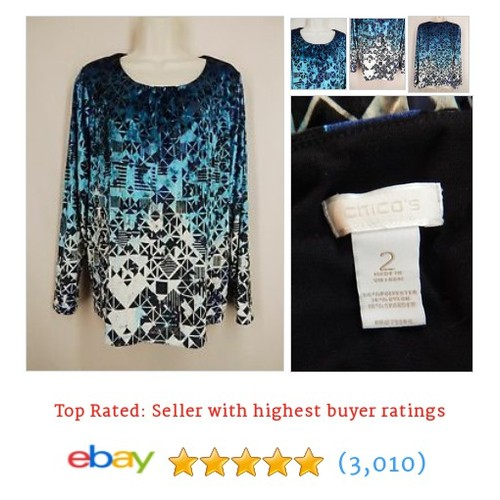 CHICO'S Size 2 L Blue Black Soft Velvet Geometric Print Long #ebay @susanjeanricci  #etsy #PromoteEbay #PictureVideo @SharePicVideo