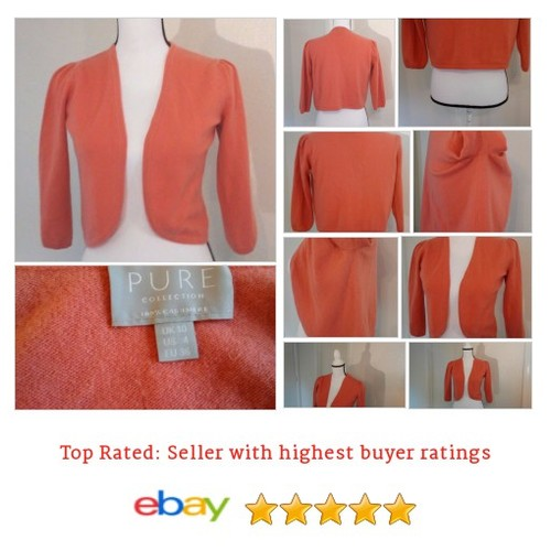 PURE Collection Size 4 Sweater 100% Cashmere Orange #Shrug Cardigan 3/4 Sleeve | eBay #Sweater #PureCollection #etsy #PromoteEbay #PictureVideo @SharePicVideo
