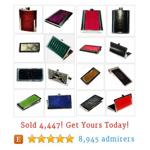 Exotic Leather Business Card Cases, Flasks, Money Clips Etsy shop #etsy @unearthed  #etsy #PromoteEtsy #PictureVideo @SharePicVideo