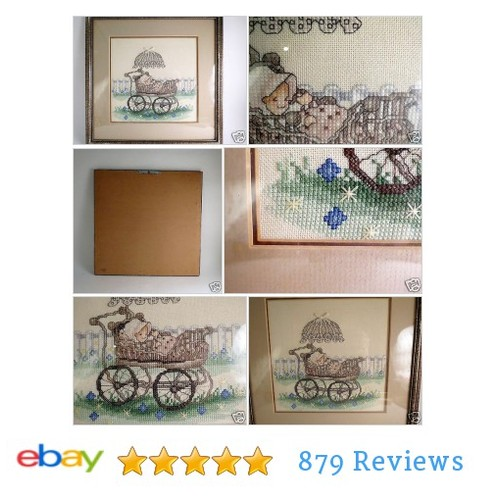 Completed Cross Stitch Evenweave Stoney Creek Baby Buggy Pram #Craft #NeedleArt #CrossStitch #etsy #PromoteEbay #PictureVideo @SharePicVideo