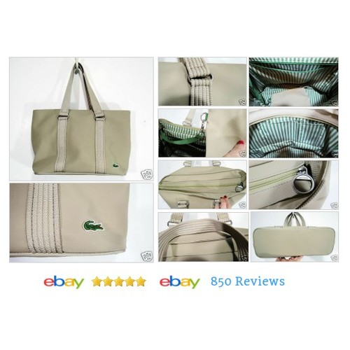 Lacoste Large #Purse Shoulder #Bag Tote Croc Logo PVC Sand Beige #Tote #etsy #PromoteEbay #PictureVideo @SharePicVideo