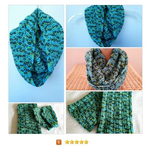 Cowl Infinity Scarf Aqua Unisex crocheted #Accessory #cowlscarf #infinityscarf   Softtotouch #etsy #PromoteEtsy #PictureVideo @SharePicVideo