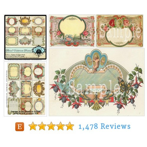 Ornate Floral Frames Digital Collage Sheet, #etsy @mikelgladelyman  #etsy #PromoteEtsy #PictureVideo @SharePicVideo