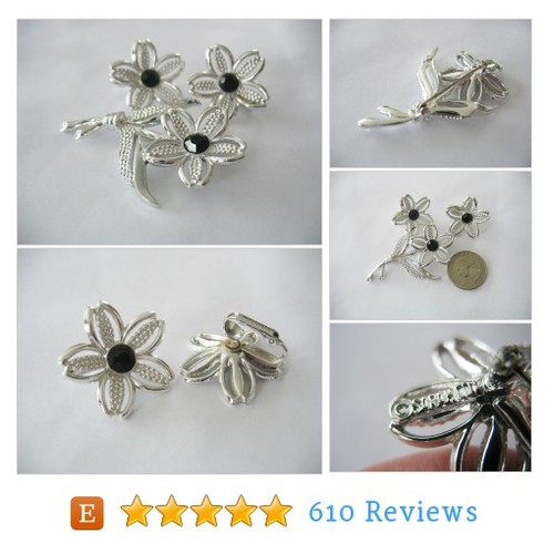 Sarah Coventry Brooch & Earrings Flower #etsy @design45  #etsy #PromoteEtsy #PictureVideo @SharePicVideo