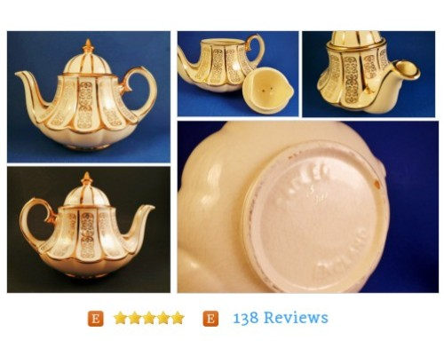 Vintage SADLER Teapot Bell Bottom Tent Carousel Ivory Gold #Home #Living #Dining #etsy #PromoteEtsy #PictureVideo @SharePicVideo