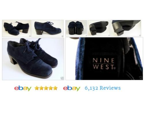 NINE WEST Blue Suede Oxfords Sz 6.5 Chunky Heels Granny Shoes #Flat #Oxford #NineWest #etsy #PromoteEbay #PictureVideo @SharePicVideo