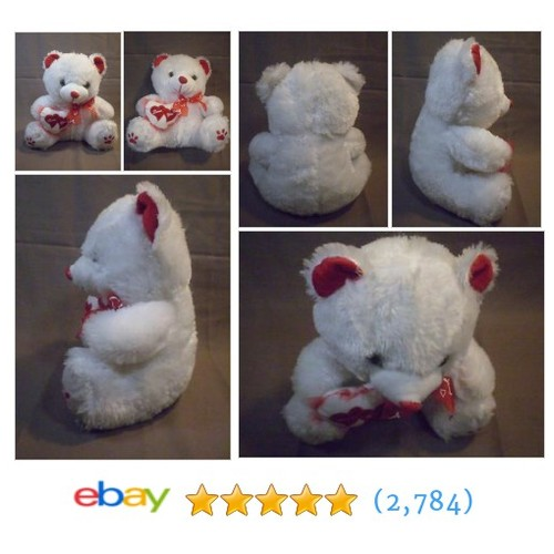 Teddy Bear Stuffed Animal Plush White Red Love You Hearts Fluffy Soft  @steel5757 #ebay  #etsy #PromoteEbay #PictureVideo @SharePicVideo