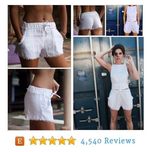 Linen Fringe Shorts, White Linen Shorts #etsy @lucycottee  #etsy #PromoteEtsy #PictureVideo @SharePicVideo