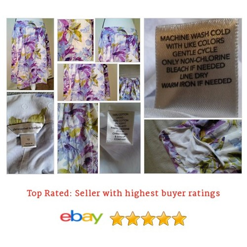 #Christopher&Banks Luxury A Line #Purple #Flower SKirt 12 100% Cotton #Jacquard #Bank #ALine #Skirt #etsy #PromoteEbay #PictureVideo @SharePicVideo