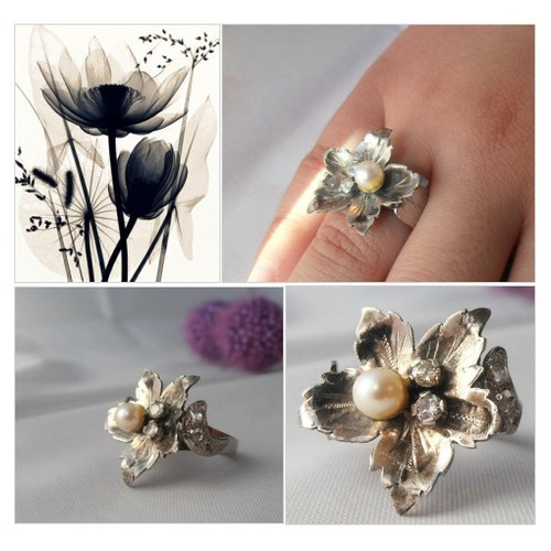 Vintage Platinum Flower Ring with 5mm Pearl and Diamonds - Size 6.5 - Engagement Ring - Anniversary #etsyspecialt #integritytt #SpecialTGIF #Specialtoo  #SpecialTParty        @SympathyRTs  @SpxcRTs #etsy #PromoteEtsy #PictureVideo @SharePicVideo