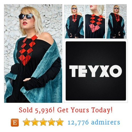 Extravagant Red Necklace, Red Leather Jewelry  @teyxo_fashion #etsy https://SharePicVideo.com?ref=PostVideoToTwitter-teyxo_fashion #etsy #PromoteEtsy #PictureVideo @SharePicVideo