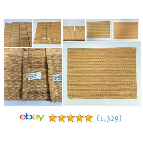 "🔥4.99🔥Placemats Woven Striped Cloth Table Placemats Set Of 4 Orange & Yellow 17.5""x13""  