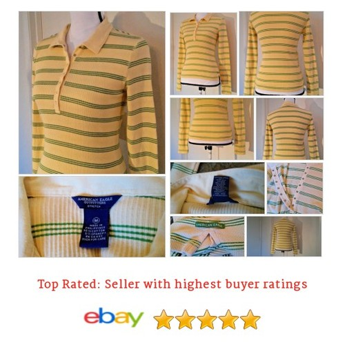 American Eagle Outfitters Womens #Top Size M Polo Long Sleeve Yellow Green Stripe | eBay #Blouse #PoloShirt #etsy #PromoteEbay #PictureVideo @SharePicVideo